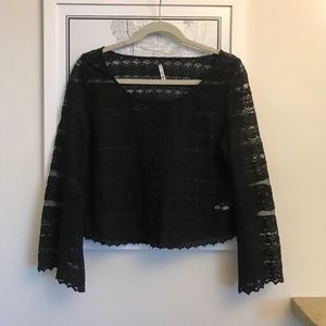 Amuse Society Black Lace Bell Sleeve Top